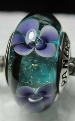 New Authentic Pandora Silver 925 Ale Purple Plum Flowers Murano Glass Bead Charm