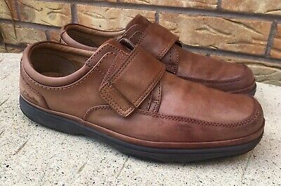 112568a7531 Mens Clarks Swift Turn Flexlight hook and loop shoe brown leather 11 Extra  wide