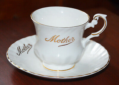 Fine Bone China Porcelain - MOTHER Tea Cup and Saucer Set -Real Carat Gold Trim