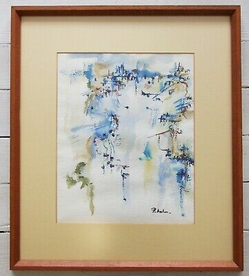 MCM Vintage Abstract Expressionist Water Color Painting on Paper Signed R. Hahn