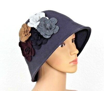 b302b650 Gray Wool Floral Vintage Women's Hat Flapper Old Fashioned