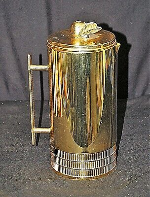 Old Vintage Brass Retro Insulated Coffee Carafe w Pear on Lid Mid Century Decor