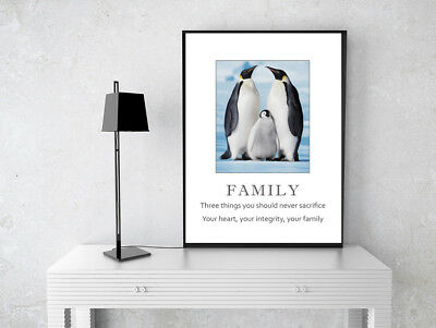 Inspirational Motivational Penguin Family Quote  Poster Print Wall Art A4