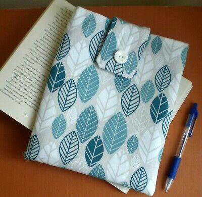 Handmade Book Sleeve / Cover / Protector Fabric Turquoise Green Leaves, Gift