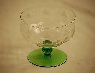 Old Vintage Etched Grapevine Clear Glass Sherbet Dish w Green Knob Footed Base