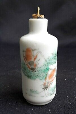 Tabatière porcelaine chinoise, antique chinese snuff bottle, insects !