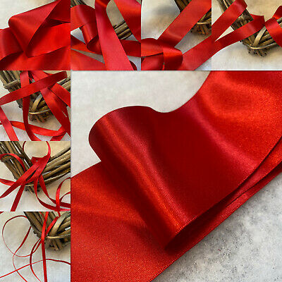 Berisfords Shade 15 Red Double Satin Ribbon 3/7/10/15/25/35/50mm Widths
