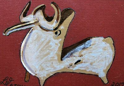 "A450      Original Acrylic Aceo Painting By Ljh        ""artifact-Bull Iran''"