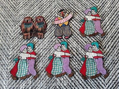 Vintage 1930s Art Deco woven embroidery haberdashery patch clown owl dutch child