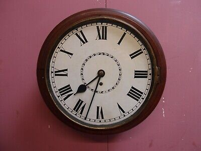ANTIQUE PENDULUM SCHOOLROOM WALL DIAL CLOCK 8 DAY FUSEE MOVEMENT for RESTORATION