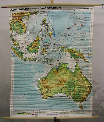 Schulwandkarte Wall Map Australia South-East Asia Hong Kong 99x130cm 1992