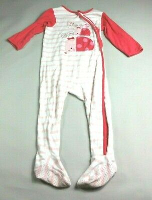 MOTHERCARE Baby GIRLS SLEEPSUIT Age 18-24 Months Pink Stripe LADYBIRDS
