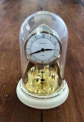 Vintage SONDINA 8 Day Anniversary Clock,Torsion Pendulum,Wind Up,Working,Dome