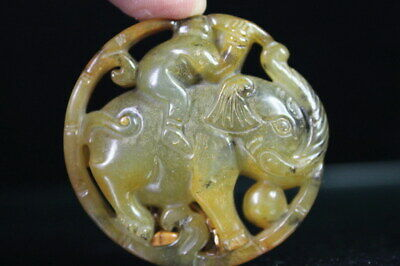 Collectable Exquisite Handmade Jade Carving Boy Rode Elephant Exorcism Pendant