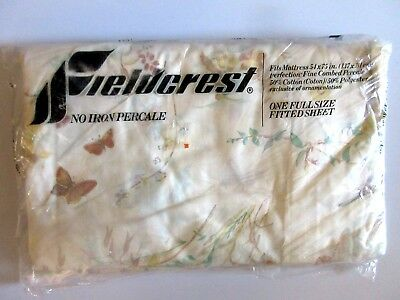 Fieldcrest No-Iron Percale Fitted Full Bed Sheet Floral Butterflies 54 x 75 NIP