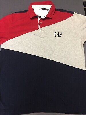 00344988956 Vintage Nautica Color Block L/S Rugby Polo Shirt MEDIUM M Big Logo Spellout  VTG