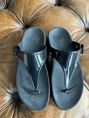 27896ca48 FITFLOP H-BAR SLIDE Sandals Leather Black L12-001-040 NEW NWB Size 6 ...
