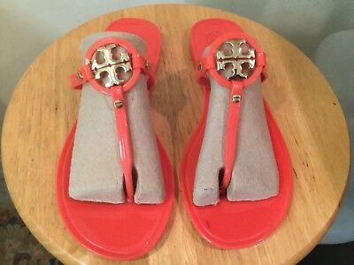 e50a63b0b38a AUTHENTIC NIB TORY Burch Mini Miller Jelly Thong Sandals Poppy Coral ...