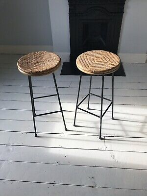 Original Vintage 1950s/1960's Rattan and Metal Pair Of Kitchen Stools