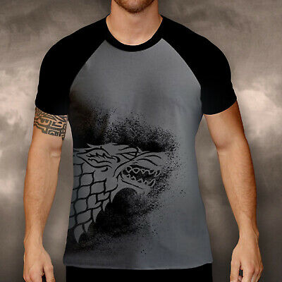 Game Of Thrones Got Official Ribbed Mens T Shirt Tee Stark Wolf Black Grey