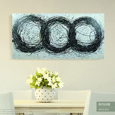 Pure Hand Painted Canvas Abstract Oil Painting Home Decor Framed Three Rings