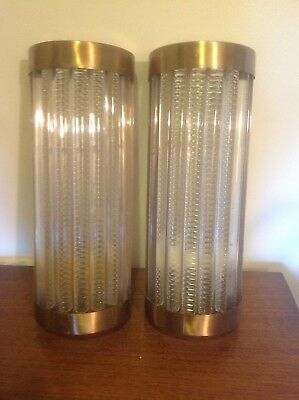 Pair Of Vintage Art Deco Brass & Lucite Rod Ship  Light / Wall Sconces Lamp