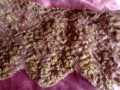 Rare Antique Embroidered Metallic Lace With Heather Colored Tulle Fragment