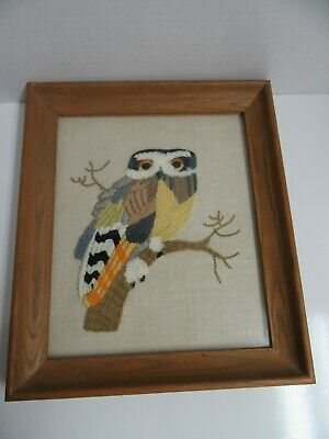Finished Crewel Embroidery Owl Completed Wood Framed 12x14 Retro Vintage