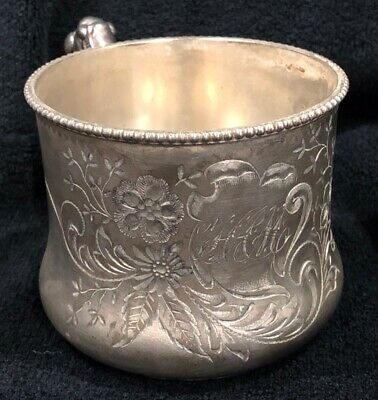 Antique Middletown Plate Co Quadruple plate White Metal B C Cup Engraved SIGNED