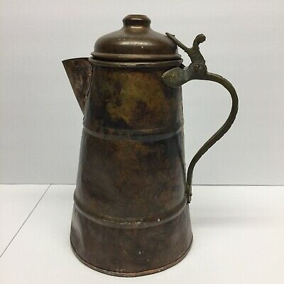 Antique Water Kettle Metal Rustic Country Farmhouse Decor Vintage Made in Turkey