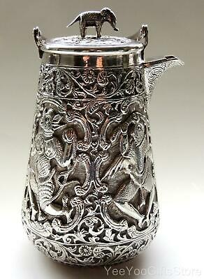 ANTIQUE & RARE Asian/Chinese-Japanese SOLID SILVER sake/tea KETTLE pot