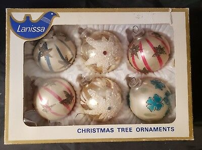 "6 German Hand Blown Mercury Glass Christmas Ornaments - 2 1/2"" Across"