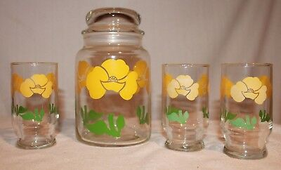 Lot 4 Anchor Hocking Yellow Flower Canister Jar Juice Glasses Set Nice Cookies