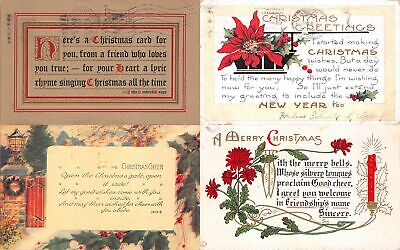 Lot of 13 Early Christmas Poems & Greetings Postcards #138022 R