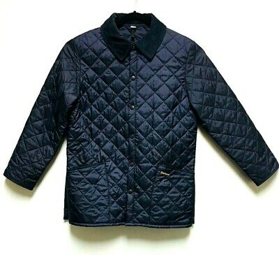 Barbour Liddesdale Navy Blue Quilted Jacket With Corduroy Collar Sz Men's Medium