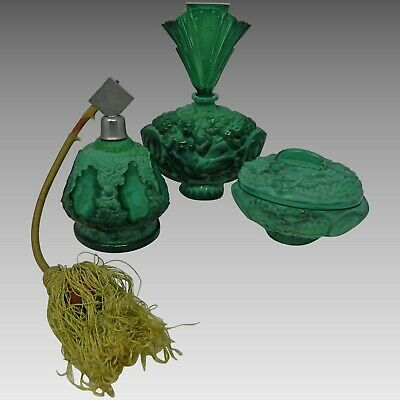 Vintage Art Deco Vanity Set Malachite Glass Perfume Bottles Trinket Box Schlevog