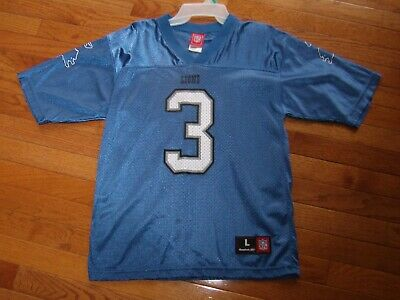 aafdf08cd49 Reebok Blue Joey Harrington Detroit Lions #3 Football Jersey Youth Large  14-16