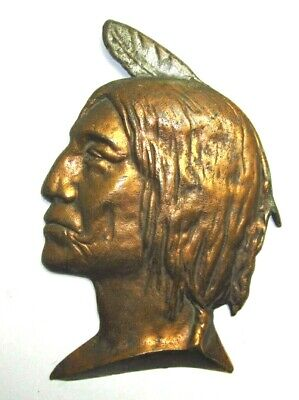 Antique Cast Iron Bronzed Native American Indian Wall Plaque Cigar Store Advert?
