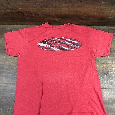 Ford Motor Company Men's T-Shirt 403-8 Logo USA Flag Graphic Tee Heather Red XL