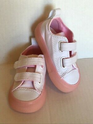 220471dfa250 Converse CTAS 2V OX infant girls white cherry blossom pink sneakers size 4M  NIB