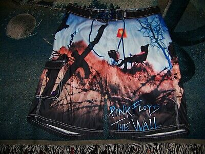 55b2ee6c68 Vintage PINK FLOYD THE WALL LP Art Dragonfly Swim Trunks Surf Board Shorts  Sz 34
