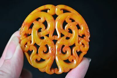 Exquisite Chinese old  jade Carved *Dragon/Phoenix* Lucky Pendant D61