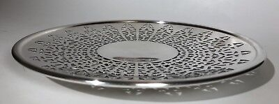 Vtg Sheffield Apollo Hammered Pierced Silverplate Dessert Cake Footed Plate 3209