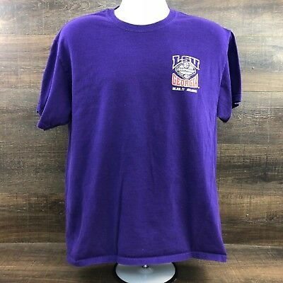 LSU Tigers vs Georgia Bulldogs Men's Shirt 349-27 SEC 2011 Championship Purple L
