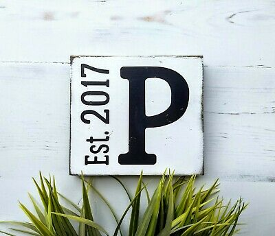 Personalized Wood Sign with Letter and Established Year.  Hand Painted