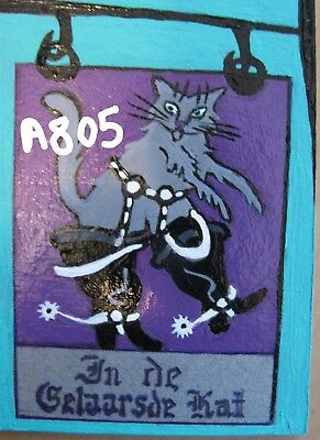 "A805        Original Acrylic Art Aceo Painting By Ljh      ""puss 'n Boots Sign''"