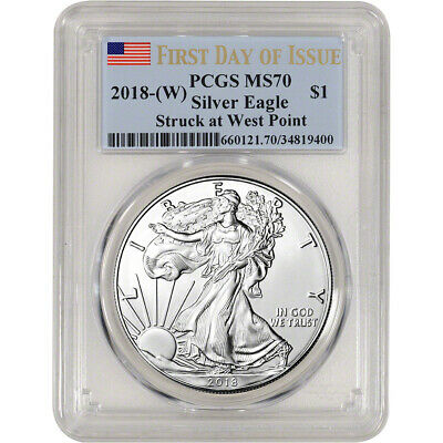 2018-(W) American Silver Eagle - PCGS MS70 - First Day of Issue