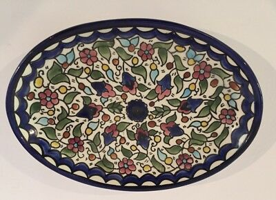 Vintage Majolica Deruta Style Oval Shaped Plate Hand Painted Bird Design