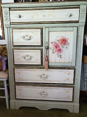 Eastlake style Antique dresser, white with flower painting on front.
