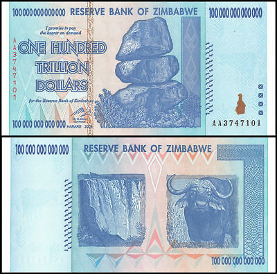 Zimbabwe 100 Trillion Dollars 2008 Banknote UNC Uncirculated AA+ P-91